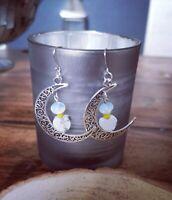 Unique Silver Filligree Moon Charm Drop Opalite & Howlite Bead Earrings - Wicca