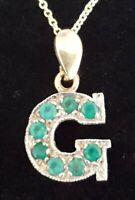 9 carat solid gold & emerald vintage Art Deco antique letter G pendant