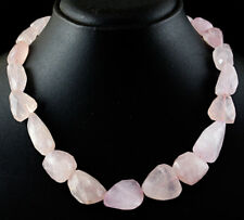 Genuine 595.00 Cts Earth Mined Pink Rose Quartz Faceted Unheated Beads Necklace