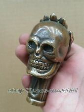 Old Bronze Hand Carved Skull antique Statue Cane Walking Stick Head