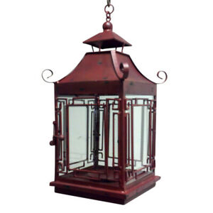 Elegant Vintage Style Red Iron Pagoda Candle Lantern Hanging Asian Oriental