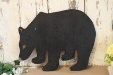 "Antique Black Bear Wood Sign Wall Hanging Hand Crafted Sign Part 20"" By 16"""