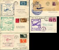 5 USA DEDICATION Cachet Cover Collection AirMail Special Delivery Postage Signed