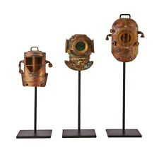 Three Divers Helmet on Pedestals Diminutive Aged Copper and Rust Collectible Art