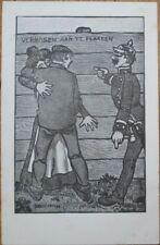 Risque 1903 Postcard: Police Man Approaches Couple Kissing