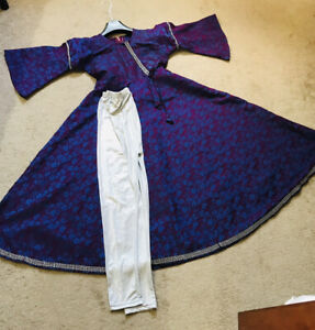 New Girls Purple Maxi Dress Clothes With Legging 9-10/11-12Year Old