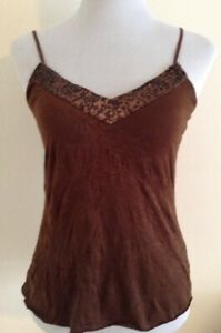 Arden B Chocolate Sequin Detail Crinkle Cami Size S