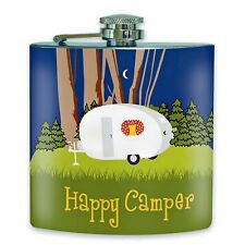 Flask Happy Camper 6 oz Stainless Steel Colorful Camping Scene Outdoor Living