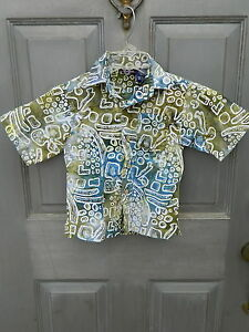 Boys Rugged Bear Front Button SS Shirt - Greenish - Size 5 - 100% Cotton - Used