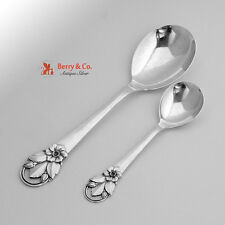 Wild Rose Serving Spoons A Prip Danish Sterling Silver 1950