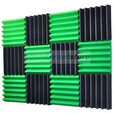 "2"" x 12"" x 12"" GREEN/CHARCOAL Acoustic Wedge Studio Soundproofing Foam 12 Pack"