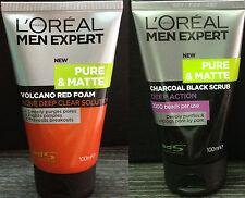 2x LOREAL Men Expert Pure Matte Volcano Red Foam Charcoal Black Beads Face Scrub