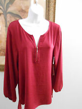 Laundry By Shelli Secal Womens LS Plum Red Top Shirt 100% Polyester NWT $155 XS