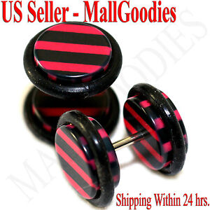 1273 Fake Cheater Illusion Faux Ear Plugs Black & Red Stripes Parttern 00G 10mm