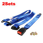 2PC Fits Fxrd 3 Point Fixed Harness Safety Belt Seat Belt Color Blue Lap Strap