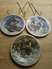 Set of three (3) Wolves In The Wilderness Decorative Plates with hangars