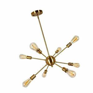 T&A Talent & Art Sputnik Chandelier Modern 8 Lights Brass Pendant Light Fixture