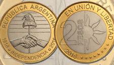 ARGENTINA 2 PESOS 2016 INDEPENDENCIA INDEPENDENCE UNC BIMETALIC