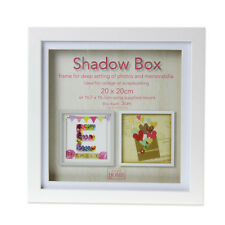 20cm Square White Wooden Deep Shadow Box 3D Photo Picture Frame Scrabble Display