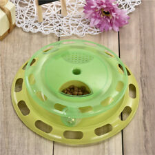 Non-slip Water Food Feeder Ball-shape Tracks Rotatable Bell Toy Dog Cat Pet Bowl
