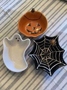 Pottery Barn Kids Halloween Candy Dish Serving Bowl Set Spiderweb Ghost Pumpkin