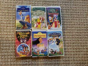 6 Disney Home Video Masterpiece VHS Tape Lot Lion King Winnie Beauty Pocahontas