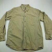 Eddie Bauer Plaid Flannel Button Down Shirt Mens Medium Green Pocket