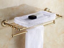 Luxury Gold Color Brass Bathroom Accessory Towel Rack Shelf Wall Mounted qba601