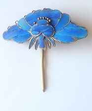 Kingfisher Feather Hairpin Chinese Antique Silver Hair Ornament Lotus Qing
