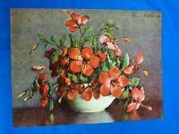 Vintage '40s Original Lithograph/LITHO Art Print GP 7955 RED FLOWERS 9''X12''
