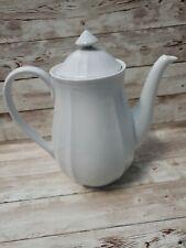 Milkasa Bristol Court Tea Coffee Pot. White 7in tall  Made in japan