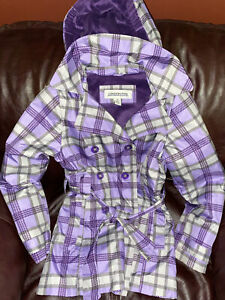 Girl's LONDON FOG Raincoat. Purple Plaid Size 10
