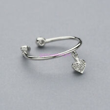 Heart Ring 925 Sterling Silver CZ Adjustable Open Band Index/Mid Ring Finger NEW