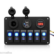 12V 24V 6 Gang LED Rocker Switch Panel Charger Circuit Breakers for Boat Marine