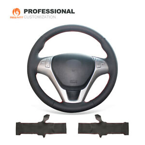 Black Genuine Leather Steering Wheel Cover for Hyundai Genesis Coupe 2010-2016