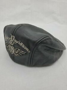 Auth. Vintage Harley Davidson Black Leather Ivy Cabbie Newsboy Cap Hat Size S