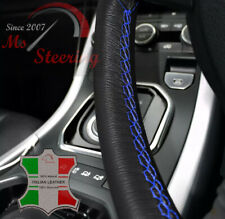 FOR CADILLAC CTS 08-09 BLACK LEATHER STEERING WHEEL COVER, BLUE ROYAL STIT