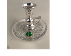 A Hallmarked Silver and Crystal Chamberstick
