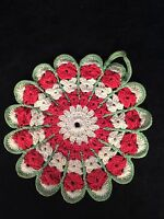 Vintage Crocheted Potholder Scalloped Edge Watermelon Colors Cream And Red