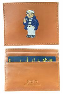 Polo Ralph Lauren (Polo Bear) Nautical Sailor Card Case Wallet Tan Leather NIB⭐️