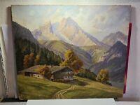 A. FISCHER signiert - schönes Antik Gemälde 1926 : Haus in Berge # 71x62cm
