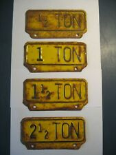 OLD ANTIQUE1/2, 1, 1 1/2 & 2 1/2 TON TRUCK CAR LICENSE TAG TOPPER - Lot of 4
