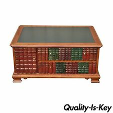 Whimsical Classical Styl Tooled Green Leather Top Library Book Form Coffee Table