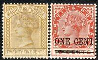 Mauritius 1883/93 olive-yellow 25c chestnut 1c on 16c mint SG110/124