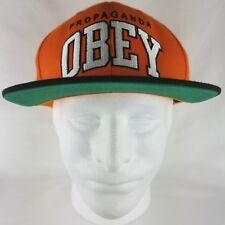 OBEY Propaganda Snapback Embroidered Hat Cap Orange Black & White !!!