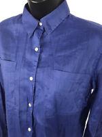 GAP Shirt Womens Size L Large Blue Sheer Ramie Cotton Blend Long Sleeve Button
