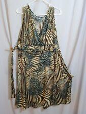 Dress Acrylic Animal Print Brown Teal Beige Clientele A-line Sleeveless Vneck XL
