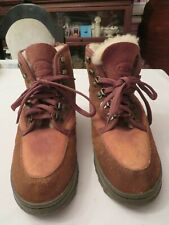 LL Bean Women's Snow Boots Lined 2 tone Brown Suede Lace Up Size 7 Mens 6