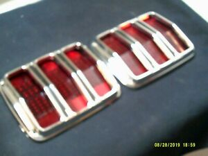 1964-1965-1966 Ford Mustang 2 Tail Turn Signal Light Lamp Lenses WITH CROME TRIM