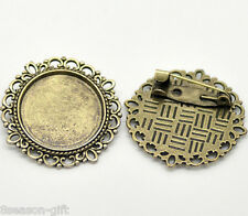 10 Bronze Tone Round Cameo Frame Setting Brooches 32mm(Fit 20.5mm)